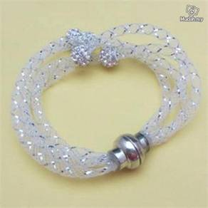ABBSM-W002 Silver Wristband Cuff Magnetic Bracelet