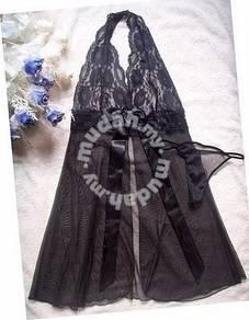L012-1 Black Sheer Halter Sexy Lingerie Sleepwear