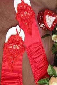 AG014-2 Red Satin Ruffle Beading Fingerless Gloves