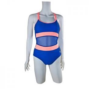 S116 Blue Sheer One Piece Swimsuit Swimwear L