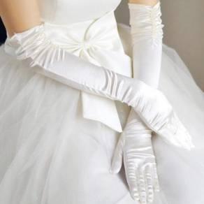 AG008-4 Sexy White Satin Elbow-Length Long Gloves