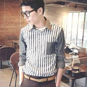 (524) Grey Vertical Stripe Man Long-Sleeve Shirt