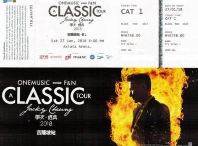 Jacky Cheung Concert 1 no. CAT1 ticket 27/01/18