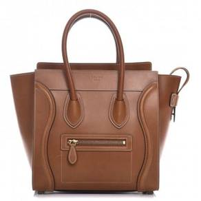 CELINE Natural Calfskin Micro Luggage Tan