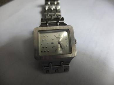 Focus Quartz Small Silver Rectangular Watch