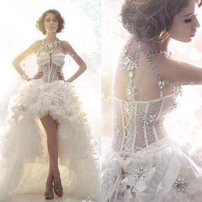 White wedding bridal prom dress gown RB0395
