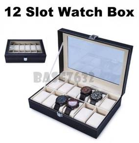 12 Slot Grid Premium PU Leather Display Watch Stor