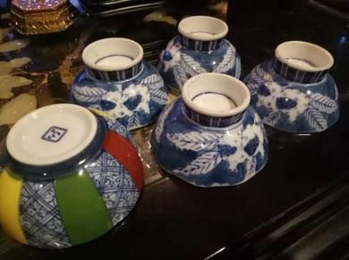 Japanese Antique porcelain small cups 5 pcs SLG