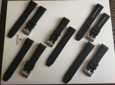RO LEX 20mm Black with Color Stripe Watch Strap