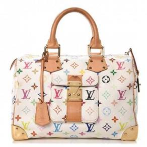 LOUIS VUITTON Multicolor Speedy 30 Blanc White