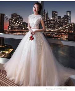 White two piece wedding bridal prom dress gown