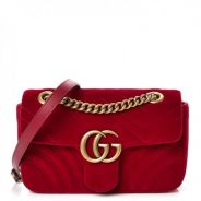 GUCCI Velvet Matelasse Mini GG Marmont Red