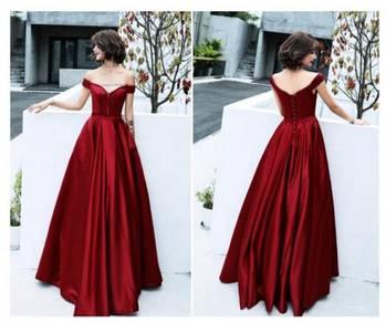 Red off shoulder star prom wedding dress RBP0945