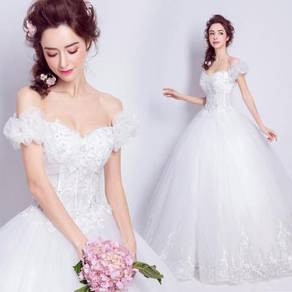 White wedding bridal prom dress gown RB0393