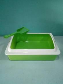 Cat Sand Litter Tray Box with Scoop 43cmx31cmx15cm