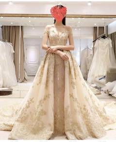 Gold wedding bridal prom evening dress gown RB0475