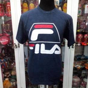 Vintage 90's Fila Big Logo F Made in USA T Shirt