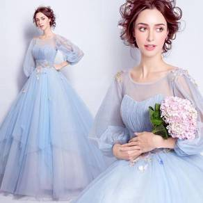 Blue wedding bridal prom dress ball gown RB0396