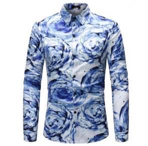 Colorful Men's Blue Swirl Pattern MFCYG 9028