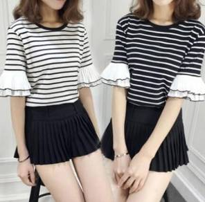 Sweet Cute Korean Ladies Fashion Stripes Pattern R