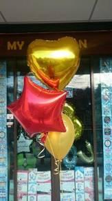 Foil star, heartshape, love balloon