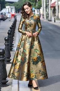 Gold long sleeve Muslimah elegant dress RBMWD0082