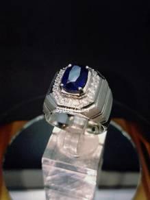 Royal Blue sapphire dan Cincin Perak
