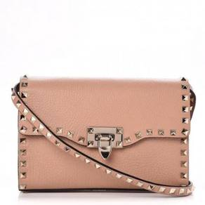 VALENTINO Pebbled Calfskin Medium Rockstud Shoulde