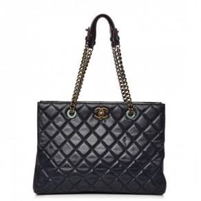 CHANEL Calfskin Quilted Tote Dark Navy Red