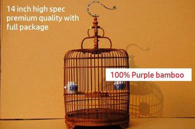 High Spec Purple Bamboo Bird Cage, Sangkar Burung