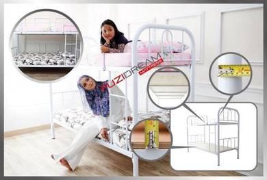 Katil Double Decker BARU Besi Tebal & Warna Putih