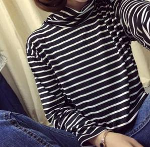 Korean Ladies Fashion High-neck Stripes Pattern De