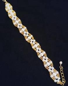Handmade White Pearl Gold Beads Bracelet