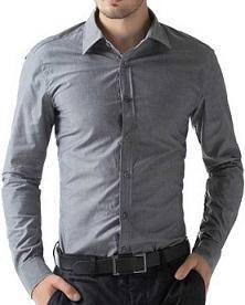 J0530 Grey Formal Casual Office Work Long Shirt