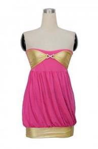 CW006-2 Sexy Pink Gold Clubwear Mini Dress