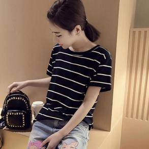 Leisure Stripes Pattern Designs Korean Ladies Fash