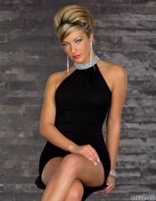 CW073 Sexy Black Mini Dress Clubwear