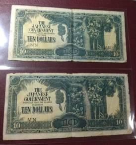 Japan Malaya Old Occupation 10 dollar notes