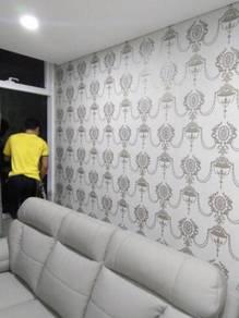 LABOUR UPAH PASANG WALLPAPER l kertas dinding