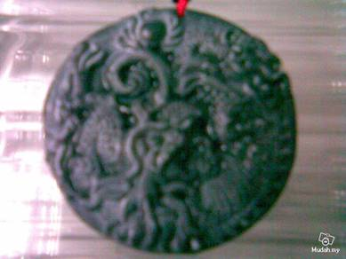ABPJ-D073 Chinese Dark Jade Two Dragons Necklace