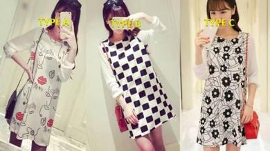 Long Sleeve Loose Women Chiffon dress (L0919)