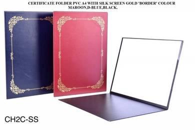 Certificate folder pvc  A4 with silk screen gold