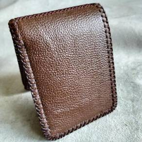 Double Combination Handmade Leather Wallet Black B