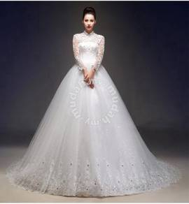 High Neck Long Sleeve Mermaid Wedding Gown