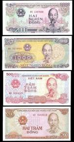 Vietnam 4 pcs 200 500 1000 2000 dong unc
