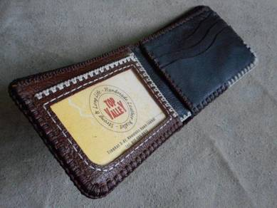 Brown and black mix handmade leather wallet
