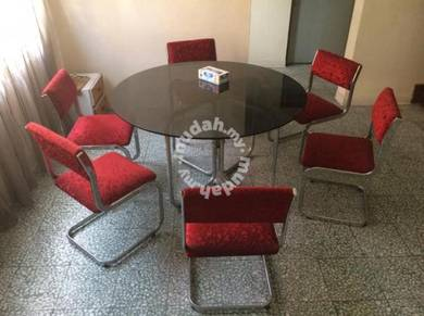 Round Glass Table with 6 Chairs