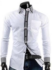 Korean stylish checked stripe bold-lining shirt