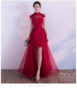 Red wedding bridesmaid prom dress RBP0394