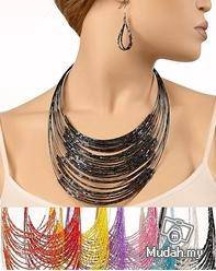 Multi-layer Beaded Necklace and Earrings set